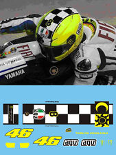 ROSSI - 2009 TEST -  MONSTER FLUORESCENT HELMET DECALS - SCALE 1:12
