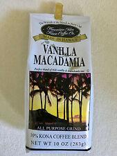 Hawaii Hawaiian Isles Kona Coffee Co. Vanilla Macadamia Nut grind NEW, Free Ship