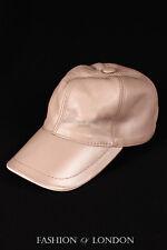 Beige Cream BASEBALL CAP Real Soft Lambskin 100/% Leather Hip-Hop Men/'s Ladies