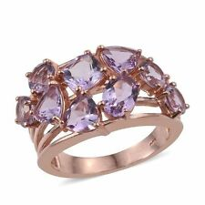 Rose De France Amethyst Ring in Rose Gold Overlay Sterling Silver 5.0 ct sz Q