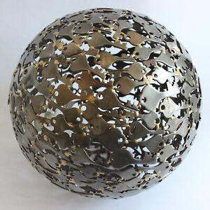 "Welded Key Sphere Globe Orb Ball Metal Statue Sculpture Decoration 9"""