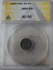 """1860 Three-Cent Piece (Trime) """"ANACS AU50"""" *Free S/H After 1st Item*"""