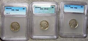 1913-D Type 2 1916-D 1917-D Buffalo Nickel  ---- VG ICG Slabbed #770