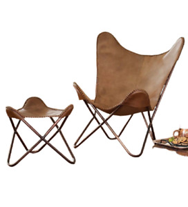 Handmade Vintage Leather Butterfly Chair With Footstool Foldable Relax Arm Chair