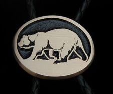 Grizzly Bear Rainbow Metals Sand Cast Bronze Bolo Tie Satin Finish Brand New!
