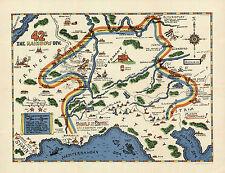 "1945 WWII Military War Map 42nd Inf. Rainbow Div. U.S. Army History War 11""x14"""