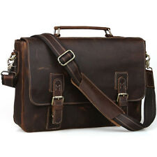 """Mens Real Leather Briefcase Messenger Bag 15"""" Laptop Case Brown Handbag Satchel"""
