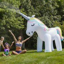 Inflatable Water Spray Pool Toys Unicorn 135cm Swimming Float Summer Beach Party