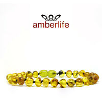 Light Green Certified Baltic Amber Bracelet/Anklet Knotted Beads sizes 18-25 cm