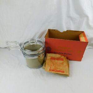 Vintage Pyrex Flameware Glass Double Boiler Sauce Pan & Lid 6283 1-1/2 QT In Box