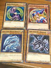 Yugioh Blue Eyes White Dragon Dark Magician Girl Red Eyes Black 4 Card Set Lot