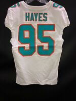 #95 WILLIAM HAYES MIAMI DOLPHINS NIKE GAME USED WHITE JERSEY SZ-40 YR-2018 +2