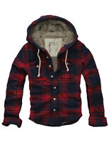 $128 Mens CALI HOLI Muscle Fit Faux Fur Flannel Check Hoodie Jacket Red Navy