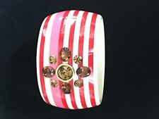 Retired Juicy Couture Pink White Red Striped Lucite Rhinestone Bangle Bracelet