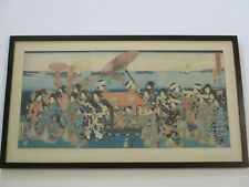 LARGE ANTIQUE JAPANESE WOODBLOCK PRINT WEDDING PROCESSION TRADITIONAL RARE OLD