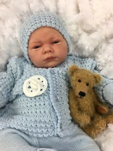 REBORN BABY BOY DOLL BLUE SPANISH KNITTED SET WITH DUMMY  A