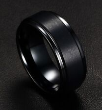Mens Rings BASIC 8MM Wedding Band Black Pure Tungsten Carbide Engagement Ring