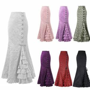 Ladies Fishtail Skirt Gothic Corset Long Mermaid Steampunk Retro Victorian Skirt