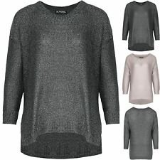 Ladies Lagenlook Womens Oversized Jumper Side Cut Hi Lo Baggy Chunky Knitted Top