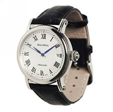 Seagull Elegant Roman Numeral Date Automatic Watch Black Genuine Leather M186s