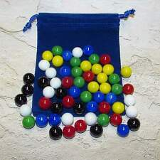 """Mega Fun Chinese Checker 9/16"""" (14mm) Opaque Glass Marbles + Pouch (M) 99246082"""