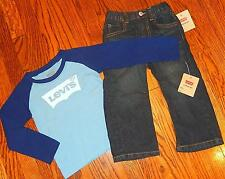 LEVIS ORIGINAL BABY/KIDS BOYS 2Pc BRAND NEW DRESS SHIRT + JEANS SET Sz 24M, NWT