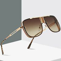 NEW Mach Oversized Square Aviator Gold Metal Bar Men & Women Designer Sunglasses