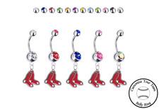 Ring - Customize Gem Color - New Boston Red Sox Silver Belly Button Navel