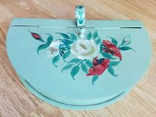 Vtg Metal Tole Silent Butler Crumb Catcher Green w/ Floral Rose Hand Painted Old
