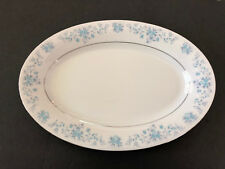 "China Pearl HELEN Blue Flowers, Platinum Trim - 14"" OVAL SERVING PLATTER"