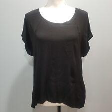 Monteau Womens Black Top High Low Hem White Lace Back Panel Medium Short Slv 148