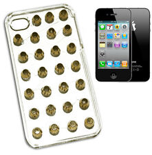 HOUSSE COUVERTURE IPHONE 4 RIGIDE GOUJONS CLOU SILVER OU OR PVC TRANSPARENT Y