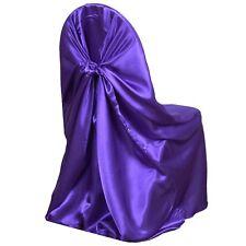 Purple Universal Satin Chair Cover