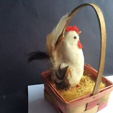 Vtg Cotton Batting Rooster Feathers Japan Woven 1950s Easter Basket Old Grass