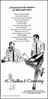 1955 A. Sulka & Co. men's summer shirts businessmen vintage art print ad ads44