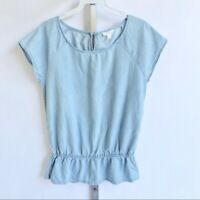 Soft Joie Blue Scoop Neck Peplum Short Sleeve Top
