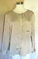 Dana Buchman Long Sleeve White Tan Stripe Button Front Blouse Hi-Lo Hem  Large