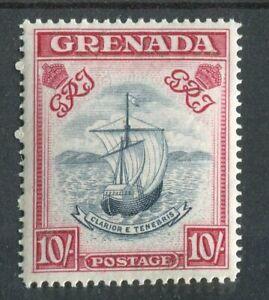 Grenada KGVI 1938-50 10/- blue-black & bright carmine (wide) SG163f  MNH