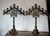 Paire de rampes d' autel en laiton et métal motif IHS XIXe Siècle