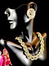 '63 CROWN TRIFARI GOLDTONE CAVALCADE NECKLACE CRYSTAL RHINESTONE EARRINGS SET
