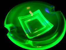 Green Vaseline glass salt dip cellar celt bowl master uranium ashtray cambridge