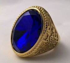 G-Filled 18k yellow gold simulated Mens blue sapphire ring 28.4gs medieval GIANT