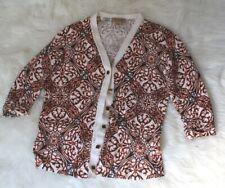 EUC Peck&Peck women's size M  pattered buttons cardigan sweater  raglan sleeve