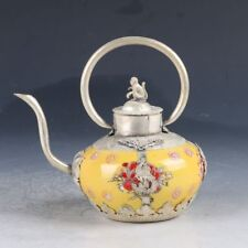 Collectibles Exquisite Chinese silver inlay Porcelain Teapot Arts  AA