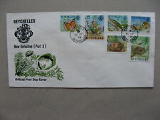 SEYCHELLES, cover FDC 1978, butterfly coconut lizzard fish