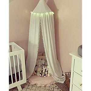 Bed Canopy with Pom Pom (White)