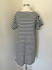 New JCREW Short-sleeve striped cotton dress Navy Ivory Stripe G2651 L SOLD-OUT!