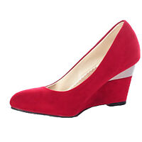 Elegant Ladies Casual Womens Mid Heel Prom Wedges faux suede Shoes UK 2 6 7