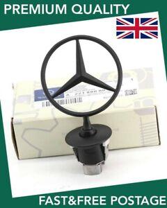 For Mercedes Bonnet Raised Star Emblem Badge Matt Black C E S CLK Class 4 UK