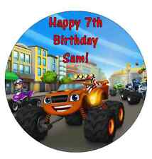 Blaze And The Monster Machines Personalised Birthday Cake Topper Edible 7.5""